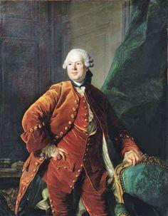 Portrait of a man, said to be Monsieur de Boulogne,  in an orange velvet costume, 1769, Louis Michel Van Loo (Toulon 1707-1771 Paris)