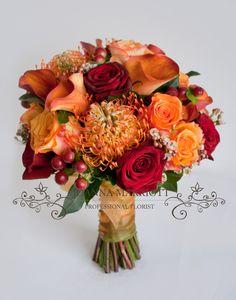 Orange and Red Bridal Bouquet Bridal Bouquet Fall, Fall Bouquets, Fall Wedding Bouquets, Fall Wedding Flowers, Fall Wedding Colors, Bridal Flowers, Fall Flowers, Flower Bouquet Wedding, Floral Wedding