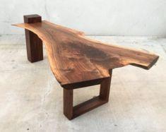 SOLD - One-of-a-Kind Live Edge, Black Walnut Coffee Table with Claro Walnut Base - interiordecor Designs