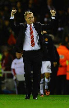 David Moyes celebrates win against Sunderland.