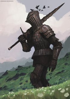 Rusty giant Knight from the hills of something by EdwardDelandreArt.deviantart.com on @DeviantArt