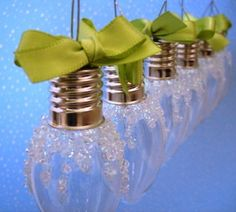 Christmas Light Bulb Ornaments set of 6 green by CranberryPines