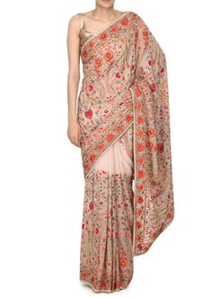 Cream saree featuring in georgette.Its embellished in kashmiri thread embroidery in paisley motif.Blouse is unstitched in cream georgette. African Dress, Indian Dresses, Indian Outfits, Saree Draping Styles, Saree Styles, Beautiful Saree, Beautiful Outfits, Beautiful Clothes, Embroidery Saree
