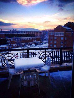 Winter at Ohio University's John Calhoun Baker University Center.