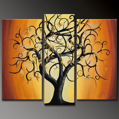 Autumn Tree Alone Orange Warm color 3 panels painting : Gallery Oil Painting Shop, Selling Modern art Painting Decorate Home Office Shop Easy