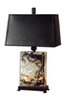 Polished Marble With Bronze Metal Detail And A Night Light Inside The Base. The Tapered Rectangle Hardback Shade Is A Bronzed Faux Leather. This Lamp Also Has A Night Light Function In The Marble Base
