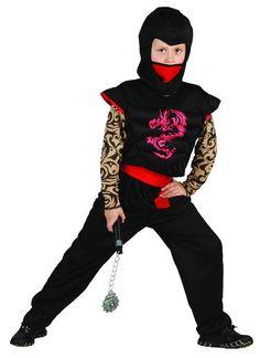 Este traje de ninja Samurái de color rojo y negro es perfecto para la fiesta de Carnaval