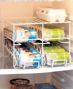 Kitchen Soda Can Dispenser Metal Rack with Shelf and Storage Organizer