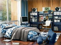 Create a cool boy's room design with these ideas and tips. Big Boy Bedrooms, Boys Bedroom Decor, Teen Room Decor, Girls Bedroom, Bedroom Ideas, Boy Rooms, Army Bedroom, Bedroom Furniture, Master Bedroom