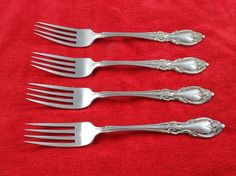 "4 Dinner Forks Louisiana by Oneida Community Stainless Flatware Silverware 7.25"" #Oneida"