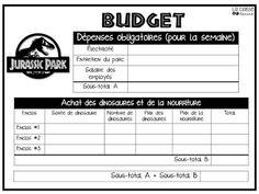 La classe de Karine: Situation-problème : Le parc jurassique Jurassic Park, Numeracy, Budgeting, Teaching, School, Cycle 3, School Counselor, Classroom Management, Classroom