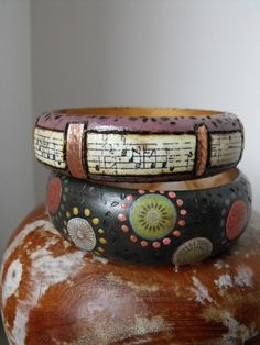 Wood Bangle bracelet, jewelry,  hand painted, paper decoupage , wood burned details ,abstract polka dots, by Zasra