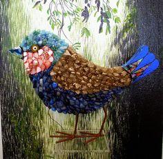 Pink Cheek Mosaic Bird by RachaelCao on Etsy, $35.00