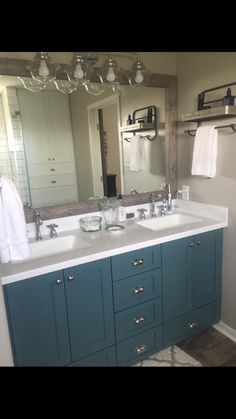 Jenn Lang Minwax classic gray stain for mirror Sherwin Williams Riverway paint on vanity
