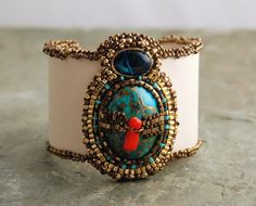 Sacrifice - Copper Turquoise and Red Coral Cuff, Vegan Jewelry, Bead Embroidered Tribal Bracelet