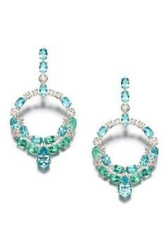 Aqua marine, emerald and diamond oval cut chandelier hoops...just lovely