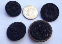 "Lot of 4 Antique Victorian Lacy Black Glass Buttons-7/8"" to 1 1/4"""