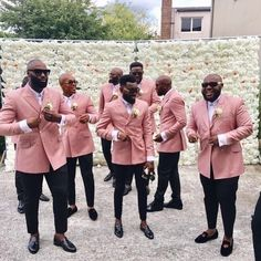 New fashion Pink Groomsman Suits Double Breasted Slim Fit Men Wedding Tuxedos Formal Party Prom Suits (Jacket+Pants) Wedding Groom, Wedding Men, Wedding Suits, Wedding Attire, Wedding Tuxedos, Wedding Ideas, Pink Groomsmen, Groom And Groomsmen Attire, Prom Suit Jackets