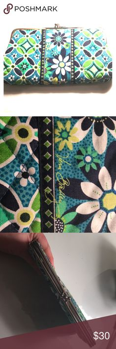 Vera Bradley Clutch/wallet Green blue and white floral pattern never used new with tags! Vera Bradley Bags Clutches & Wristlets