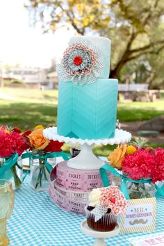 Styled Shoots: Carnivals of Color- aqua cake