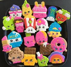 Custom Shopkins Cookies For more info on how to order please visit my FB page and send me a message www.facebook.com/busybeecakery Or email me: malinda@busybeecakery.com #shopkins #shopkinsbirthday #shopkinsparty #shopkinscookies