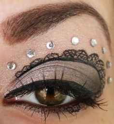 Steampunk makeup, lose the rhinestones and add feather lashes