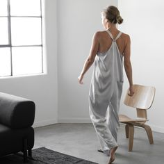 Our new jumpsuit is all the things. It's silk. It has pockets. It's adjustable. Pairs perfectly with our Pima Long Cardigan or to feel extra glam, try it with our Washable Silk Robe. Silk Jumpsuit, Dope Outfits, Casual Outfits, Rompers Women, Everyday Fashion, Everyday Outfits, Well Dressed, Lounge Wear, Nice Dresses