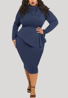 e318a78ffcf Navy Blue Draped Peplum Bowknot Long Sleeve Plus Size Party Midi Dress
