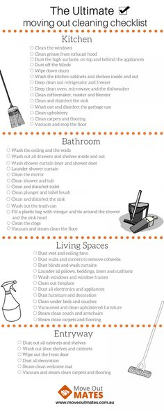 Moving Out Checklist - End of Lease Cleaning ChecklistYou can find Moving checklist and more on our website.Moving Out Checklist - End of Lease Cleaning Checklist Moving House Checklist, Moving List, Moving House Tips, New Home Checklist, House Cleaning Checklist, Apartment Checklist, Moving Home, Apartment Cleaning, Moving Day