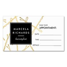 2211 best appointment business card templates images on pinterest chic gold bobby pins hair stylist appointment card colourmoves