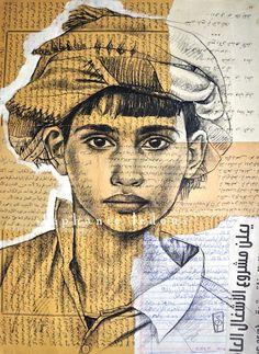 Vendeur de galettes de sésame - Yemen  Extrait de mon carnet de voyage au Yémen. Sanguine noire et acrylique blanche sur collage de papiers chinés au souk