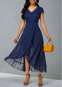 Color : Blue Style : Elegant Neckline : V Neck Pattern Type :Solid The post V Neck Lace Patchwork Tulip Hem Chiffon Dress appeared first on Power Day Sale. Tight Dresses, Sexy Dresses, Dresses For Sale, Short Sleeve Dresses, Chiffon Dresses, Trendy Dresses, Lace Dress, Fall Dresses, Long Dresses