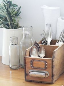 Upcycle an old drawer & use as a silverware holder