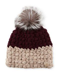 Mischa Lampert Two-Tone Wool Fox-Trim Beanie Hat 0bf6e7dee175
