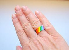 Black Band Beaded Rainbow Ring  Seed Bead Ring  Summer Peyote Ring  Rainbow Bead Ring  Thin Band Ring  Gay Pride Ring Festival Jewelry