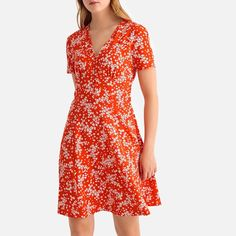 Floral Print Flared Mini Dress LA REDOUTE COLLECTIONS With its spring feel, this floral dress has a chic, boho look that you'll love! Spring Dresses, Day Dresses, Dress Outfits, Short Dresses, Vacation Dresses, Square Neckline Dress, Frack, Buy Dress, Dress Red