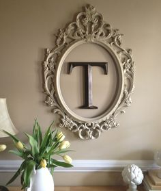 Spray painted Ikea frame and monogram letter from Hobby Lobby at front door entr.Spray painted Ikea frame and monogram letter from Hobby Lobby at front door entr.Home Wall Ideas Empty Frames, Ikea Frames, Large Frames, Empty Wall, Marco Ikea, Monogram Wall, My New Room, Picture Wall, Home Projects