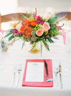 Color + Style Combine For This Vibrant Desert Wedding Wildflower Centerpieces, Craft Corner, Tablescapes, Wedding Flowers, Deserts, Vibrant, Table Decorations, Flower Ideas, Crafts