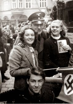 """Germany's Union (""""Anschluss"""") With Austria. 1938 These Austrian girls are full of joy in Salzburg. They will soon be living the Nazi way of life. Turning in Jewish friends, hatin g their Jewish friends and helping the Nazis anyway they can"""
