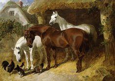 Bild:  John Frederick Herring d.Ä. - Pferde und Hühner auf einem Bauernhof  Many of his horses are curious about other farm animals...