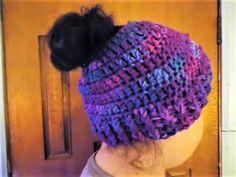 Messy Bun Beanie Ponytail Hat Teen Adult Handmade Crochet USA #Handmade #Beanie