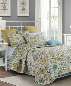 947dc76f8c95 Look at this Debra Valencia Ivory   Teal Geoprint Three-Piece Quilt Set
