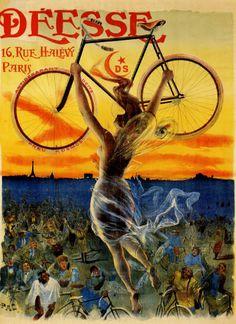 Vintage Bicycle Poster 1890s Deesse Bicycles Paris