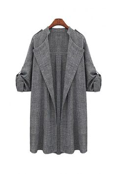 Plus Size Duster Coat with Adjustable Sleeves - US$27.95 -YOINS