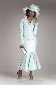 """Jacket has ruffled organza trim and detachable flower. Notched collar, crossover lapels and novelty closure. Lined. Double-tiered skirt has godet inserts at hem. Back zipper. Partially lined. 38"""" L. Available only in seafoam.      Aida Skirt Suit from ASHRO   P229684"""