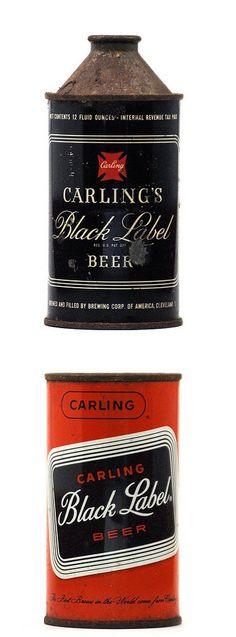 Vintage Carling Black Label beer cans