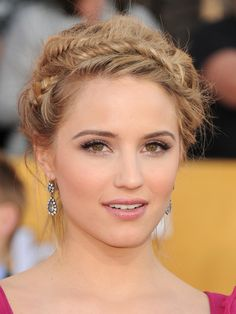 Dianna Agron hair and make up. Great Updo for a Beach or Garden Wedding.