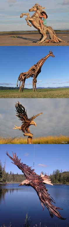 Stunning sculptures just using natural materials. It shows you don't have to think small when crafting with driftwood
