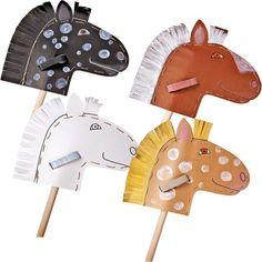Karton Steckenpferd JAKO-O, Bastelset - Prinzessin-Geburtstag - Halloween Crafts For Toddlers, Toddler Crafts, Diy For Kids, Crafts For Kids, Horse Party, Cowgirl Party, Pony Party, Anniversaire Cow-boy, Stick Horses