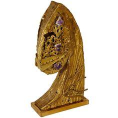 Brutalist Bronze & Amethyst Lamp by Henri Fernandez, via Regis Royant Gallery on 1stDibs.